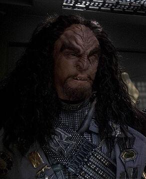 Martok, Chancellor of the Klingon High Council, in 2375