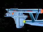 Frachtdrohne dockt an Enterprise (NCC-1701)