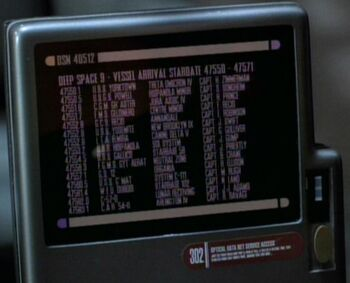 "The arrival roster at Deep Space 9 listing the ""Yorktown"""