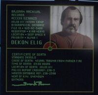 Certificat de décès de Dekon Elig