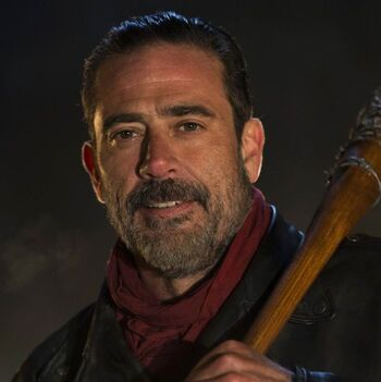 "Jeffrey Dean Morgan as Negan in The Walking Dead with his beloved base ball bat, ""Lucille"""