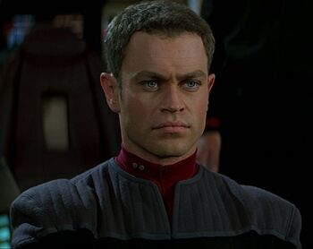 Lieutenant Hawk at the <i>Enterprise</i> helm