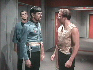 The other James T. Kirk (right) arguing with Spock