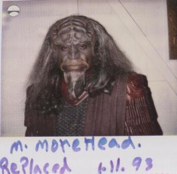 "Moorehead on a continuity polaroid for ""Birthright, Part I"""