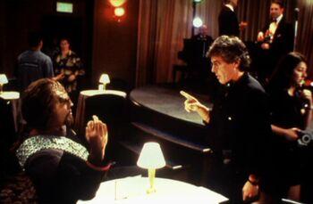 Michael Dorn (Worf) & Les Landau on the set of Deep Space Nine