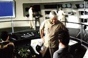 Robert Wise directing the actors on the set of the Enterprise bridge