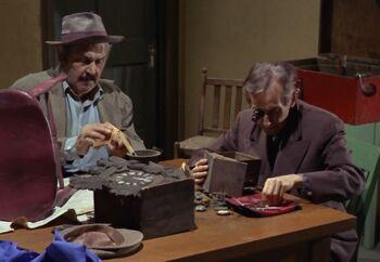 ...as a Clock repairman (left)