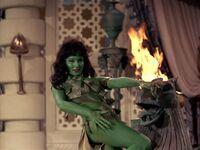 "Vina fantasized as a ""green Orion animal woman"""