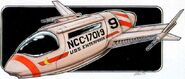 Eaves drawing of Matt Jefferies' shuttlecraft concept for Phase II