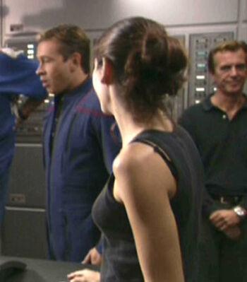 Watson on set (right)