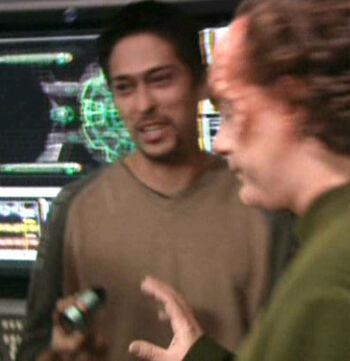 Ortiz on the set of Star Trek: Enterprise