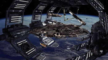 <i>Columbia</i> under construction in spacedock in 2153