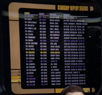 The Wellington on a Starship Deploy Status chart