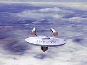 USS Enterprise over Earth