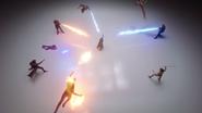 Rip Hunter's team fight the Pilgrim