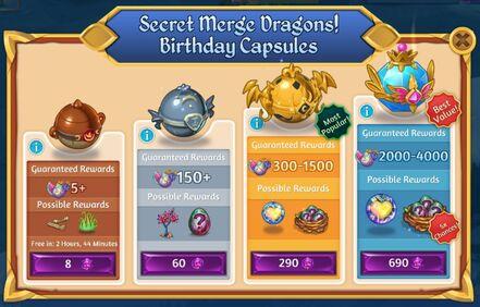 Secret Merge Dragons! Birthday Capsules shop.jpg
