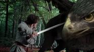 Lancelot stabs the Griffin