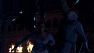 The Dragon attacking Arthur