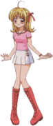 Lucia pink shirt n white skirt outfit