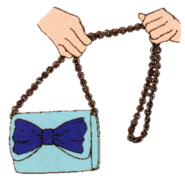 Hanons bag that goes with her dark blue dress