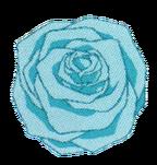 Hanons light blue flower from dark blue dress