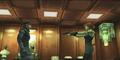 Коммнадная комната, с одержимой Мэрил, пытающейся соблазнить Снейка под дулом пистолета