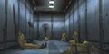 Коридор, ведущий из западной лаборатории, усеянный трупами геномных солдат, убитых Грей Фоксом