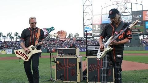 Kirk & James Perform the National Anthem (2017 Metallica Night w the SF Giants)-2
