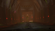 Red-lit corridor - entered from elevator shaft