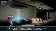 Samus firing Omega Stream at white E.M.M.I.'s face