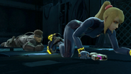 Snake crawling after Samus