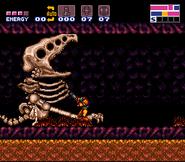 Samus ante el esqueleto de Crocomire