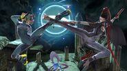 Samus and Bayonetta kicking