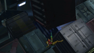 Materials Storehouse - Samus leaping away from a crate