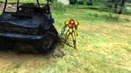 Biosphere Test Area - Samus with Little Birdie's body and transport vehicle