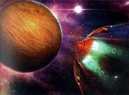 MSR Artbook Samus flying to Zebes