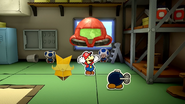 Paper Mario The Origami King Space Warrior Mask being put on