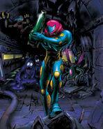 Artwork de Metroid Fusion con Samus y varias criaturas mf