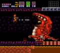 Samus Presses Crocomire to Acid Pool SM