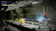Metroid Dread Samus using Omega Stream on green EMMI