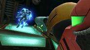 Sakurai image of Samus threatening Dark Samus (MP2 tribute)