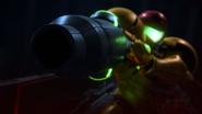 A Piercing Screech Samus brandishes Arm Cannon