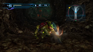 Long dirt tunnel Samus recovering from Namihe