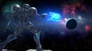 Sakurai image of Dark Samus threatening a planet