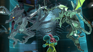 SSBU Samus confronted by two Ridleys
