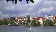 Widok na miasto z jeziora Ełk