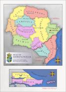 Mapa do Reino da Meridionália - Capitanias, províncias e capitais