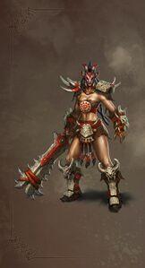 Barbarian female artwork Heroes VI