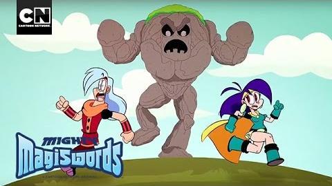 Mighty Magiswords Warrior Twins VS Stony Golem! Cartoon Network