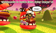 Cautious Mii inside Extra Spicy Burger